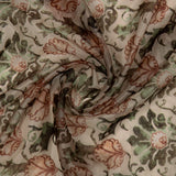 Ivory Cream And Green Floral Pattern Digital Print Premium Organza Fabric