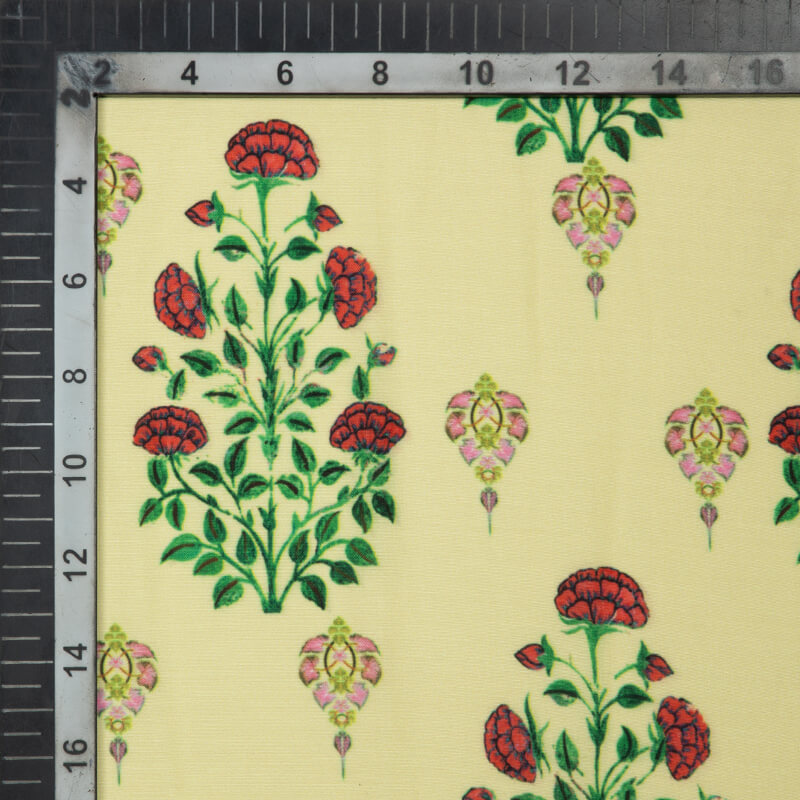 Pastel Yellow And Red Mughal Pattern Digital Print Muslin Fabric - Fabcurate