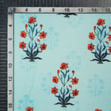 Teal And Red Mughal Pattern Digital Print Muslin Fabric