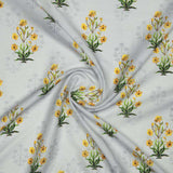 Light Grey And Yellow Mughal Pattern Digital Print Muslin Fabric - Fabcurate