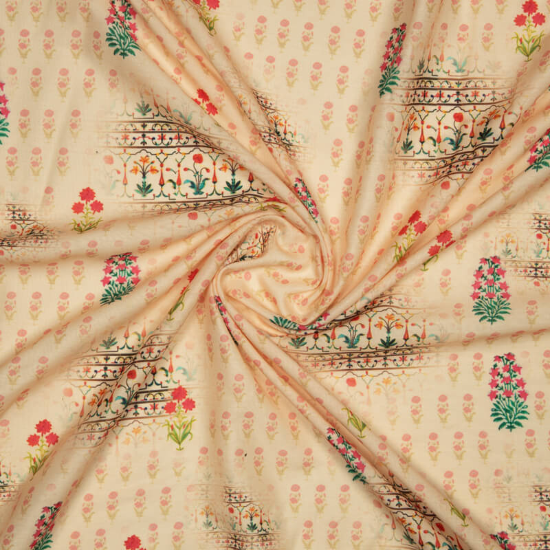 Pastel Orange Mughal Pattern Digital Print Muslin Fabric - Fabcurate