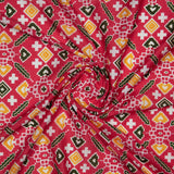 Rose Red Patola Pattern Digital Print Muslin Fabric