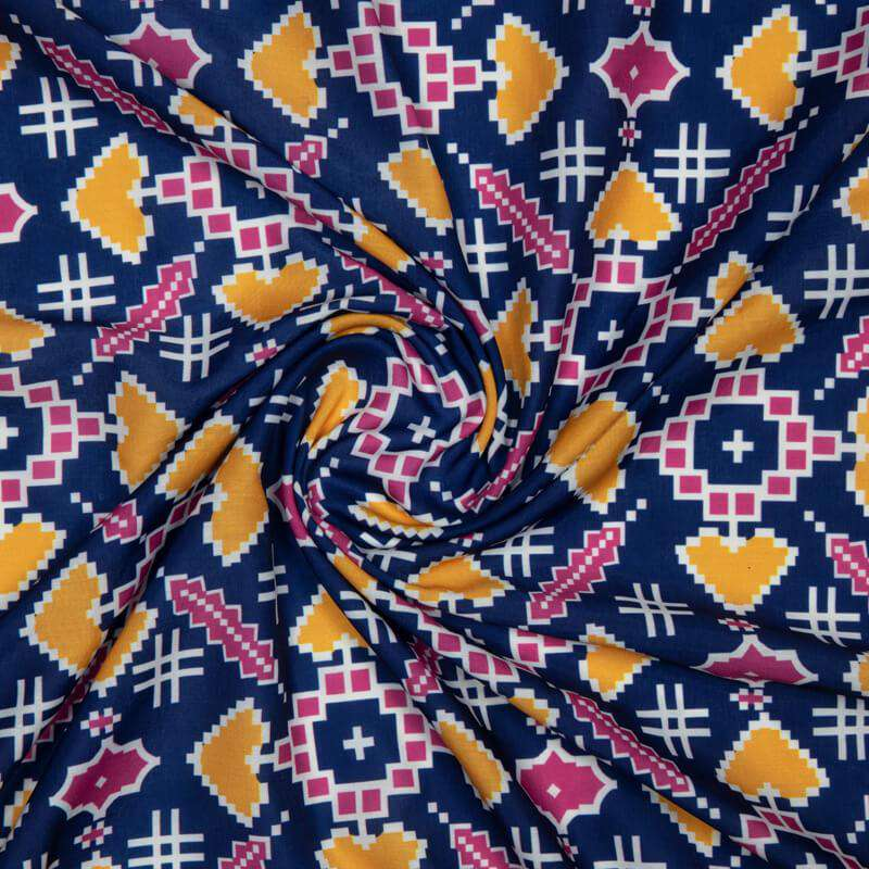 Navy Blue Patola Pattern Digital Print Muslin Fabric - Fabcurate
