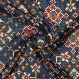 Royal Blue Patola Pattern Digital Print Kota Doria Fabric