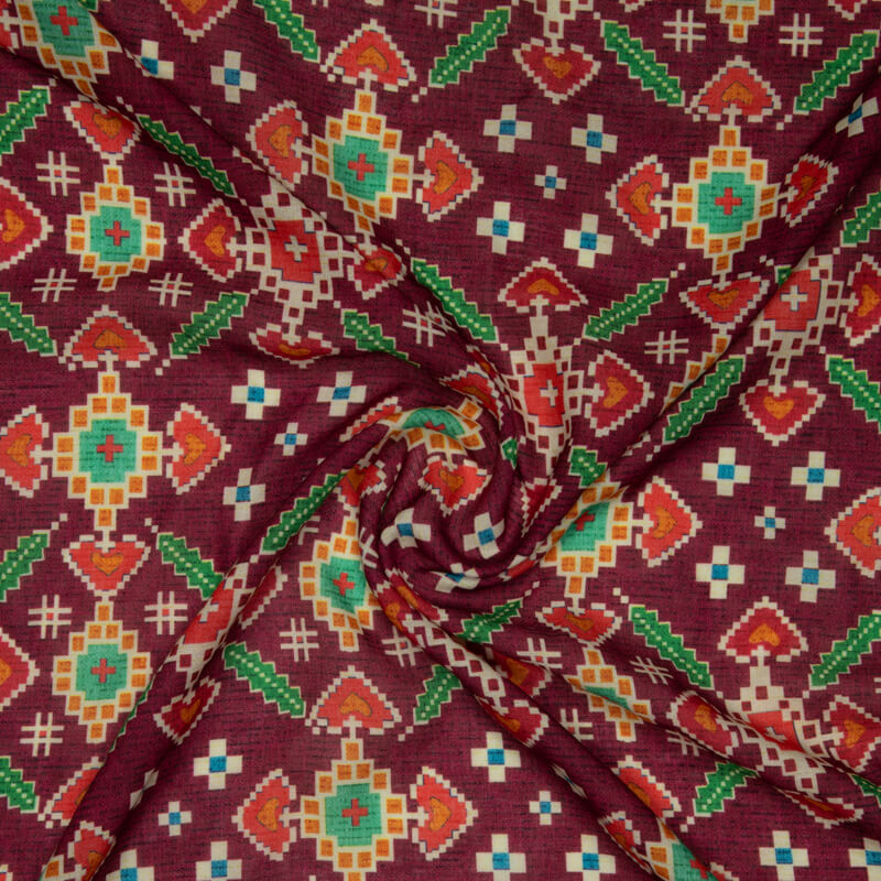 Burgundy Patola Pattern Digital Print Rayon Fabric - Fabcurate