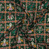 Green Patola Pattern Digital Print Rayon Fabric