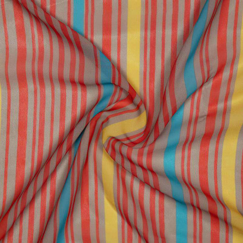 Red Stripes Pattern Digital Print Muslin Fabric