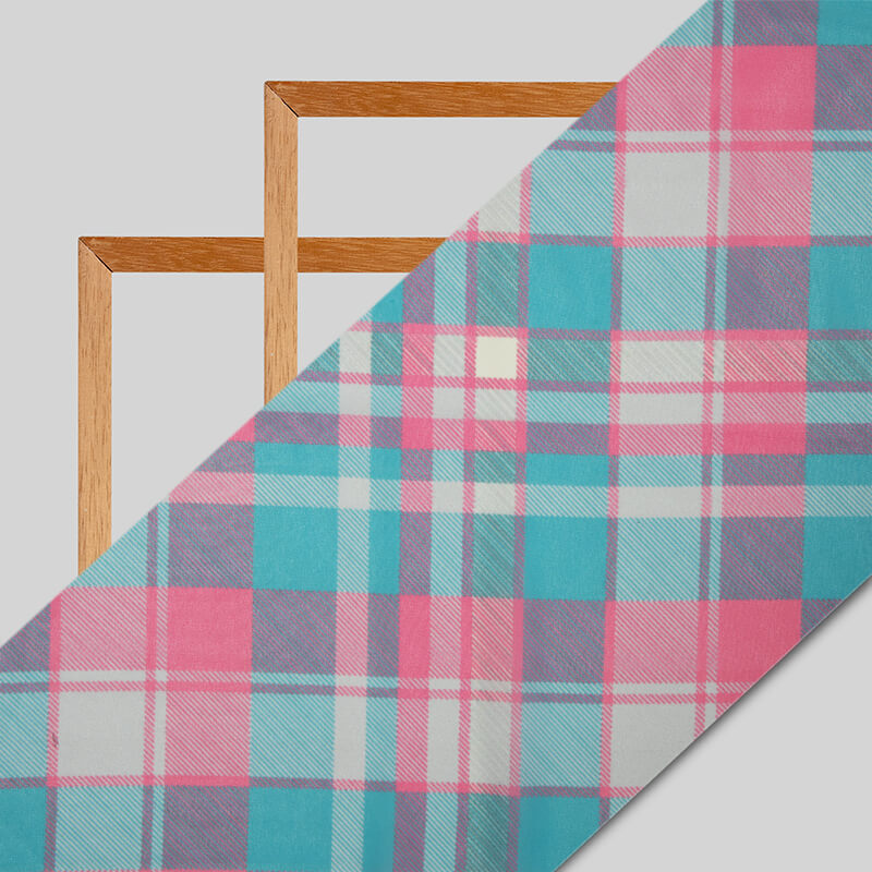 Pink And Teal Checks Pattern Digital Print Muslin Fabric - Fabcurate