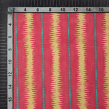 Red And Cream Stripes Pattern Digital Print Muslin Fabric - Fabcurate