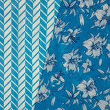 Blue And White Chevron Pattern Digital Print Muslin Fabric - Fabcurate