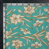 Teal And White Floral Pattern Digital Print American Crepe Fabric