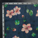 Blue And Pink Floral Pattern Digital Print American Crepe Fabric - Fabcurate