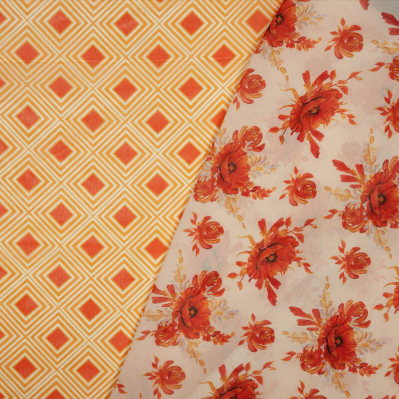 Cream And Red Floral Pattern Digital Print American Crepe Fabric - Fabcurate