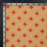 Cream And Red Geometric Pattern Digital Print American Crepe Fabric