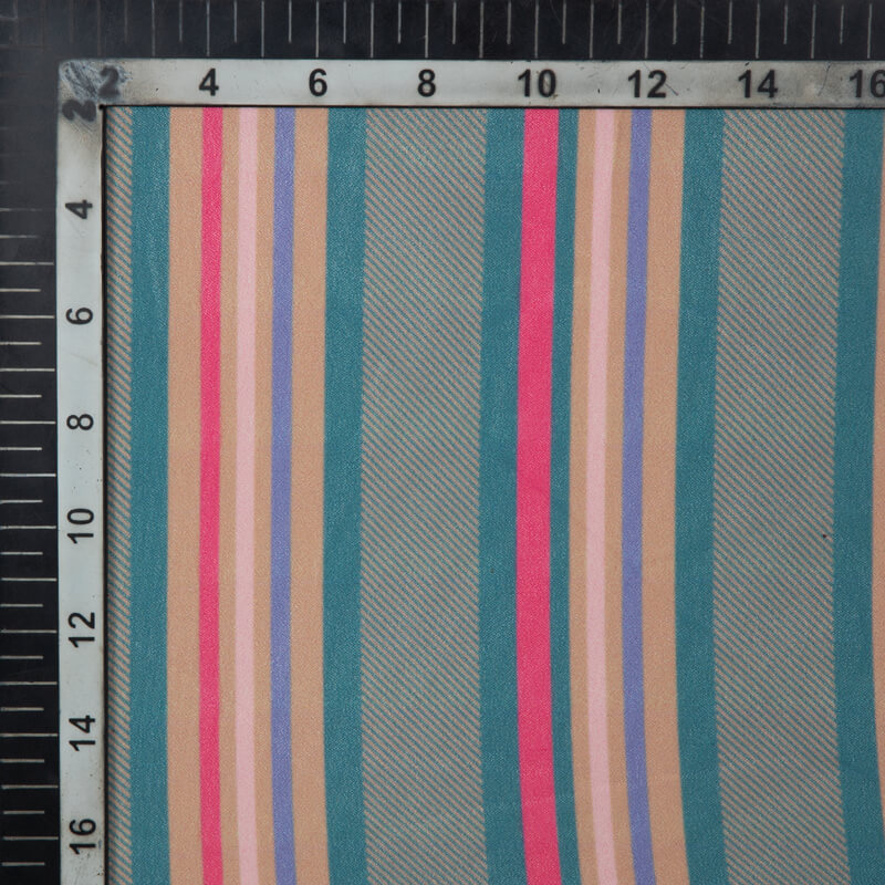 Beige Stripes Pattern Digital Print American Crepe Fabric
