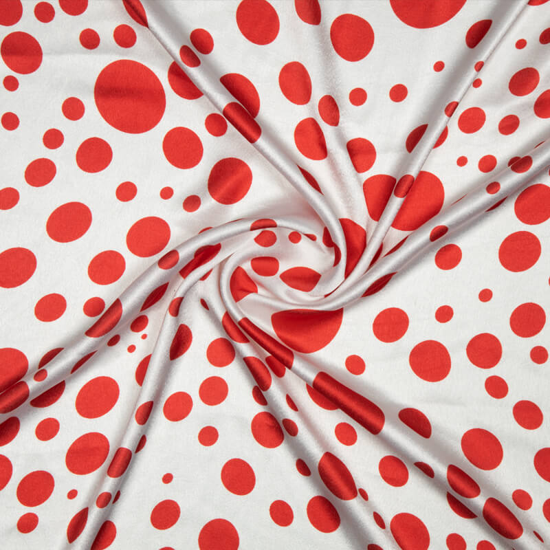 White And Red Polka Dot Digital Print Japan Satin Fabric