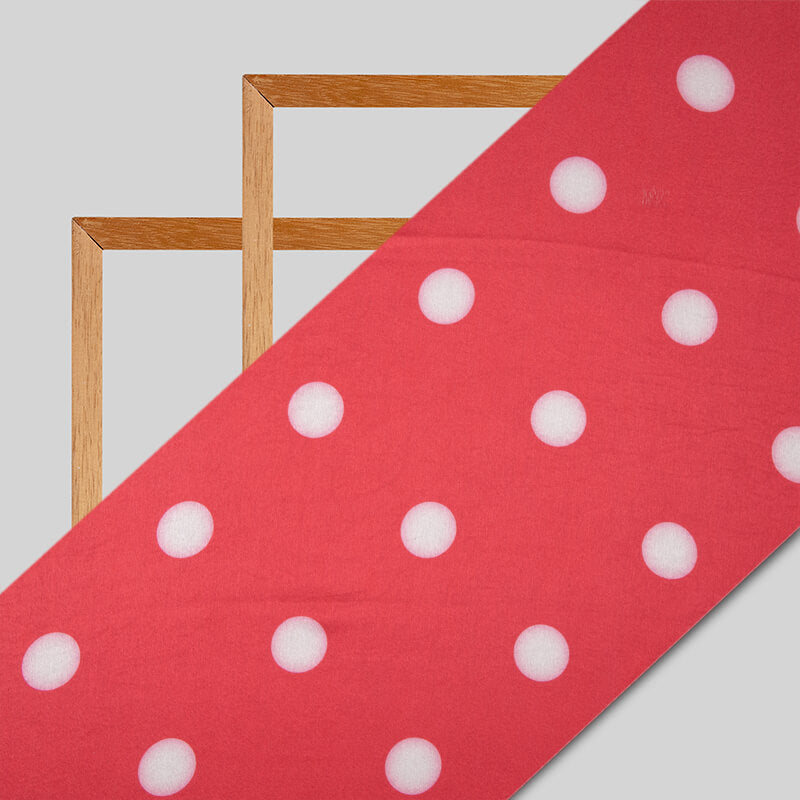 Pink And White Polka Dots Digital Print Japan Satin Fabric