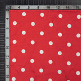 Red And White Polka Dots Digital Print Japan Satin Fabric