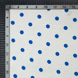 Blue And White Polka Dots Digital Print Japan Satin Fabric - Fabcurate