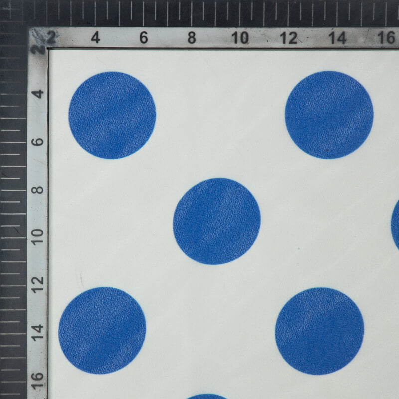 Blue And White Polka Dots Digital Print Georgette Fabric