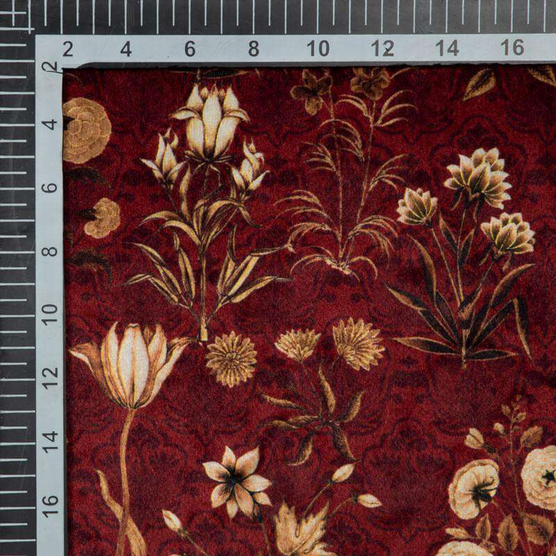 Maroon Floral Pattern Digital Print Velvet Fabric (Width 54 inches) - Fabcurate