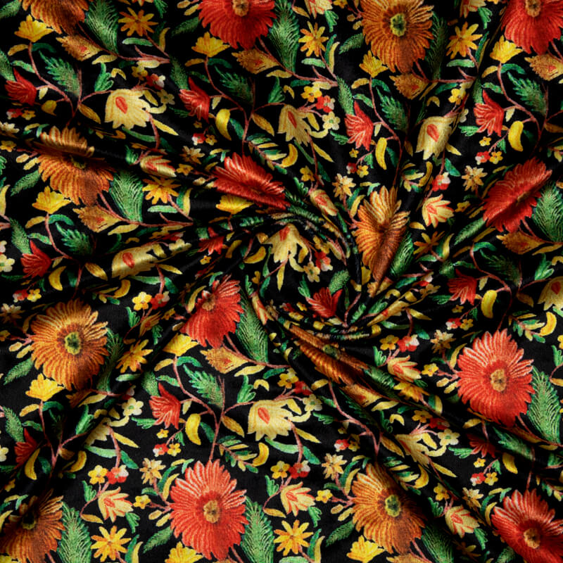 Black And Yellow Floral Pattern Digital Print Velvet Fabric