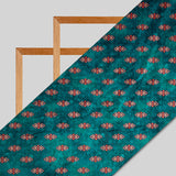 Teal Geometric Pattern Digital Print Velvet Fabric