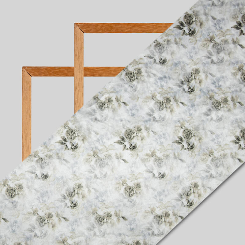 White And Olive Floral Pattern Digital Print Velvet Fabric