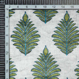 Olive And Light Grey Mughal Pattern Digital Print Velvet Fabric (Width 54 inches) - Fabcurate