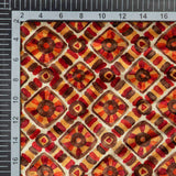 Cream And Maroon Geometric Pattern Digital Print Velvet Fabric (Width 54 inches)