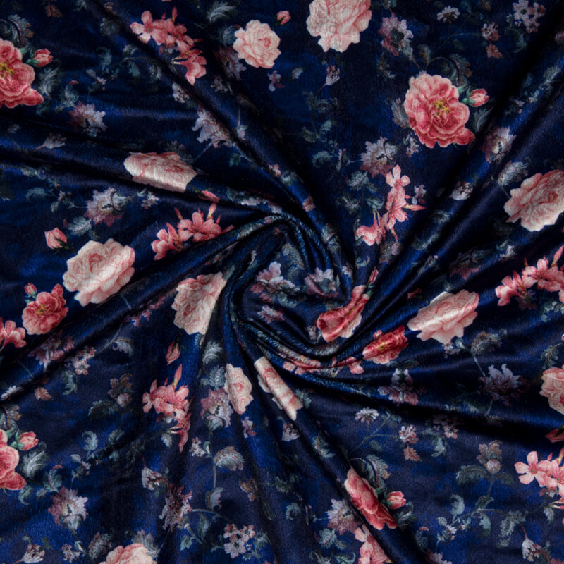Royal Blue Floral Pattern Digital Print Velvet Fabric (Width 54 inches) - Fabcurate