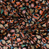 Black Leaf Pattern Digital Print Velvet Fabric