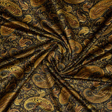 Light Brown And Mehendi Green Paisely Pattern Digital Print Velvet Fabric (Width 54 inches)