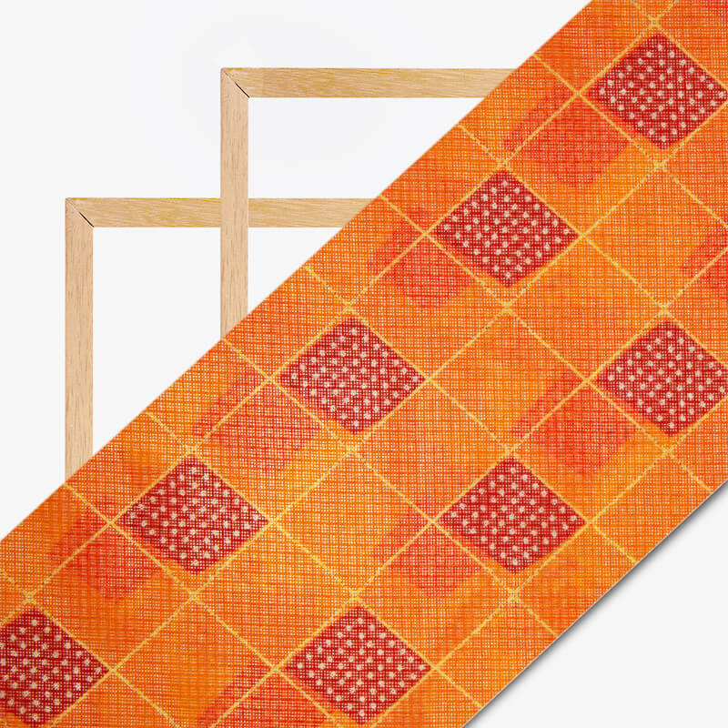 Fire Yellow And Red Geometric Pattern Digital Print Kota Doria Fabric