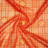 Orange And Yellow Geometric Pattern Digital Print Kota Doria Fabric