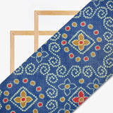 Royal Blue And Red Bandhani Pattern Digital Print Kota Doria Fabric - Fabcurate