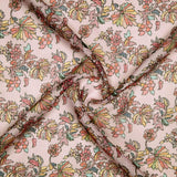 Baby Pink Multicolor Leaf Pattern Digital Print Kota Doria Fabric