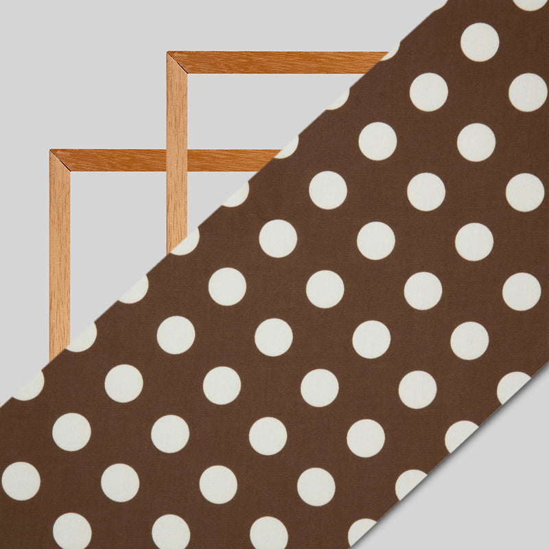 Brown And White Polka Dot Digital Print Modal Satin Fabric