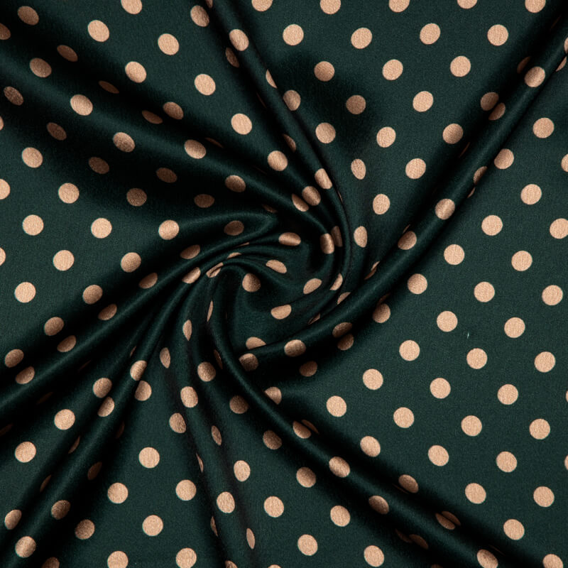 Bottle Green And Peach Polka Dots Digital Print Japan Satin Fabric