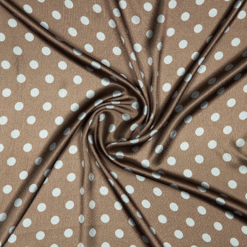 Brown And Teal Polka Dots Digital Print Japan Satin Fabric
