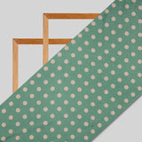 Pistachio Green And Beige Polka Dots Digital Print Japan Satin Fabric