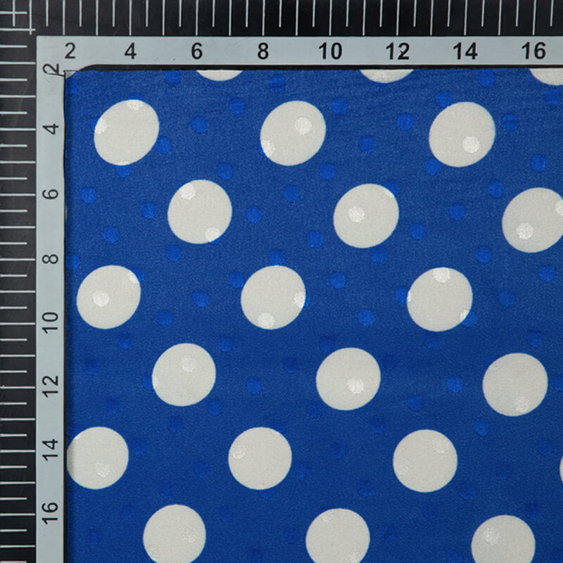 Royal Blue And White Polka Dots Digital Print Premium Jacquard Booti Japan Satin Fabric (Width 58 Inches)