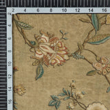 Brown Floral Pattern Digital Print Viscose Muslin Fabric