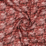 Red Batik Pattern Digital Print Viscose Muslin Fabric - Fabcurate