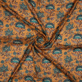 Mustard And Turquoise Floral Pattern Digital Print Viscose Muslin Fabric