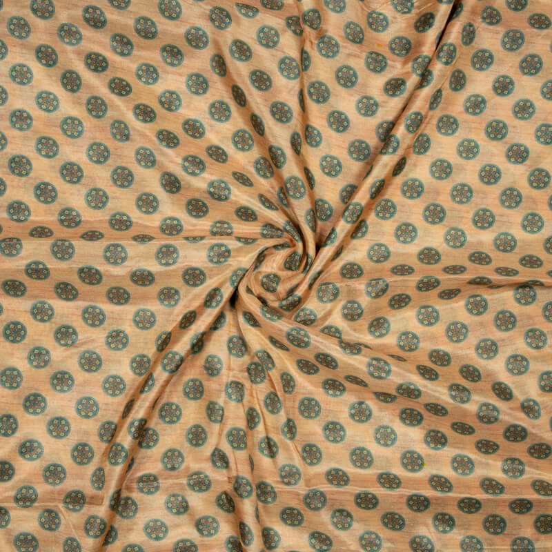 Peach And Turquoise Geometric Pattern Digital Print Viscose Muslin Fabric