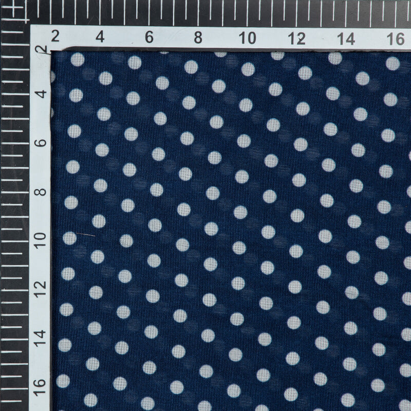 Navy Blue And White Polka Pattern Digital Print Viscose Muslin Fabric