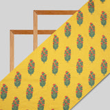Yellow Mughal Floral Pattern Digital Print Viscose Rayon Fabric