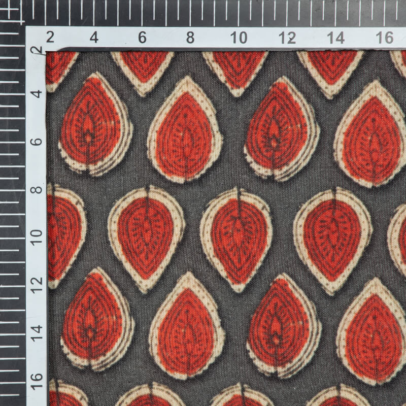 Dark Grey And Red Leaf Pattern Digital Print Viscose Rayon Fabric - Fabcurate