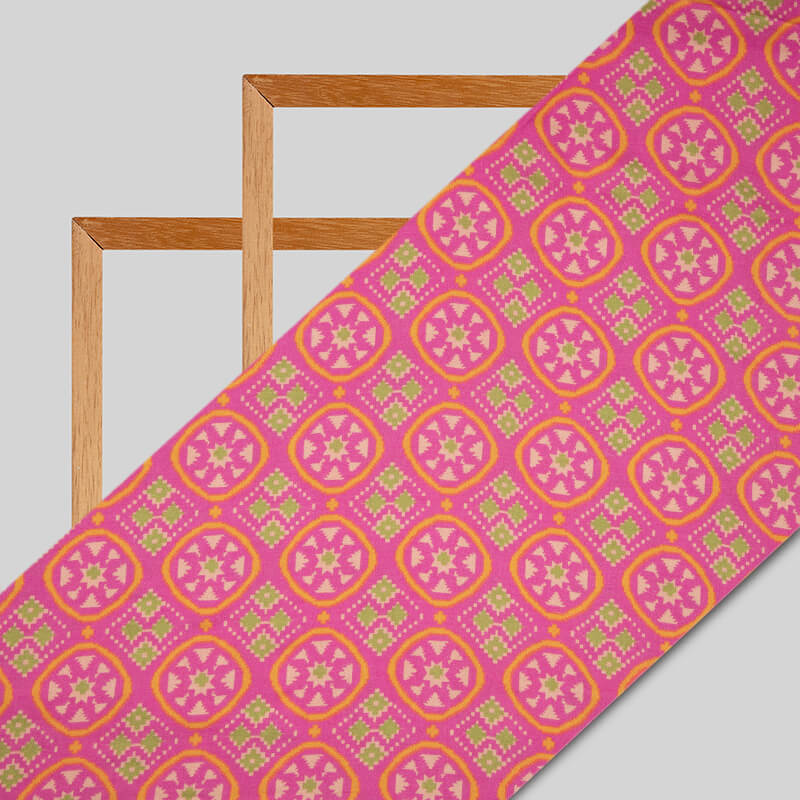 Dark Pink Patola Pattern Digital Print Viscose Rayon Fabric
